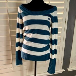 Teal Stripe Boatneck Sweater Long Sleeves L